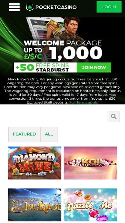 Pocket casino eu home page