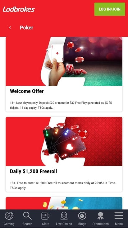 Poker ladbrokes promotions page