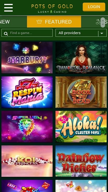 Pots of gold games page