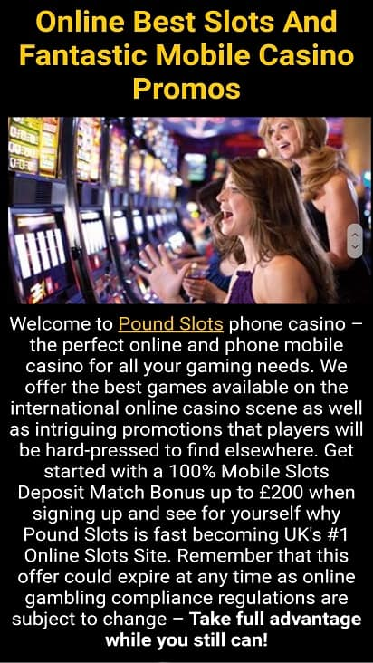 Pound slots promotions page