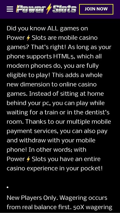 Power slots home page