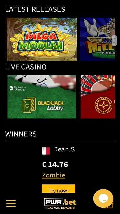 Pwr bet games page