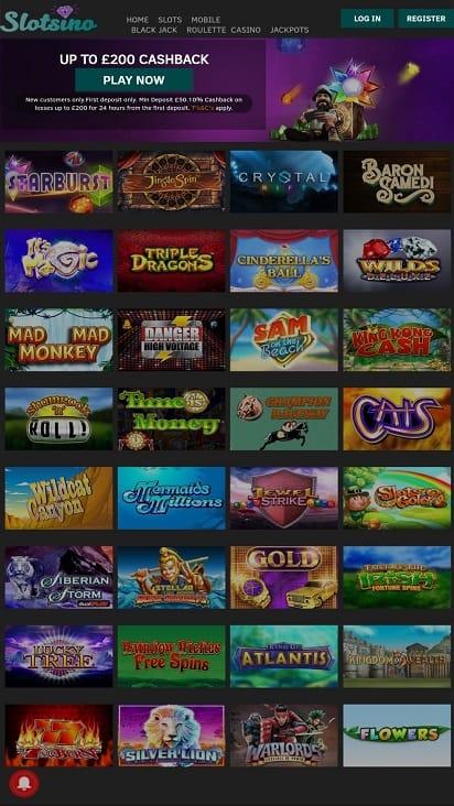 Slots ino games page