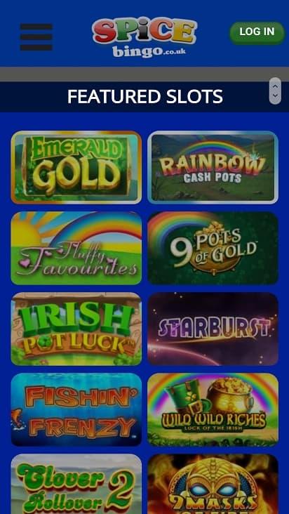 Spice bingo games page