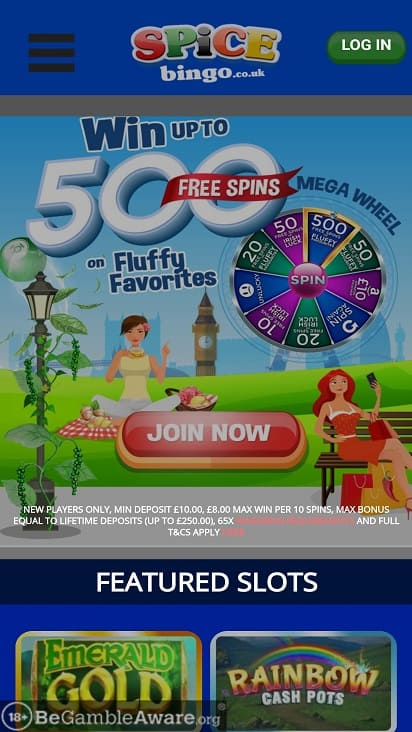 Spice bingo home page
