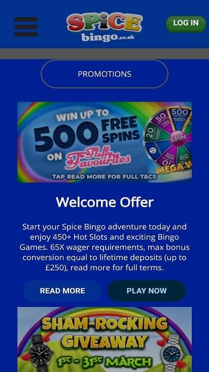 Spice bingo promotions page