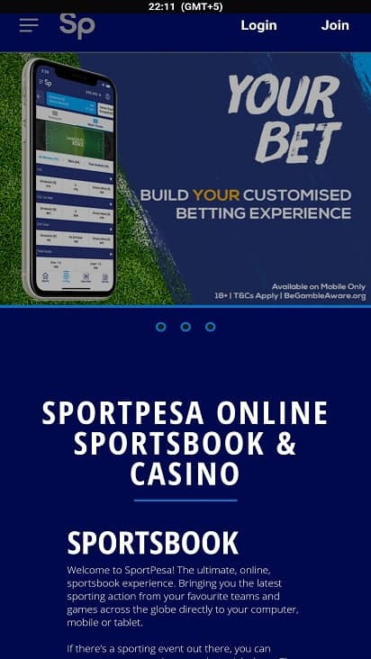 Sport pesa home page