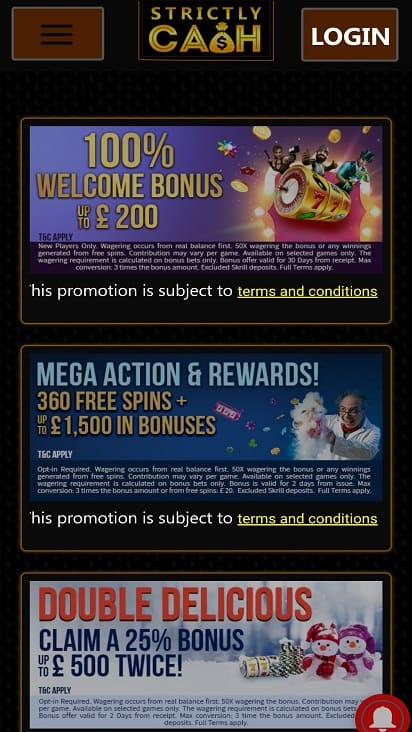 Strictly cash promotions page