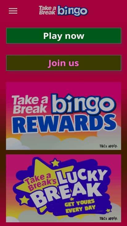 Take a break bingo home page