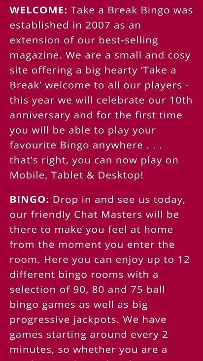 Take a break bingo promotions page