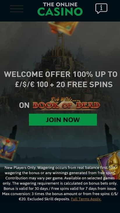 The online casino home page