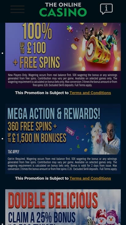 The online casino promotions page