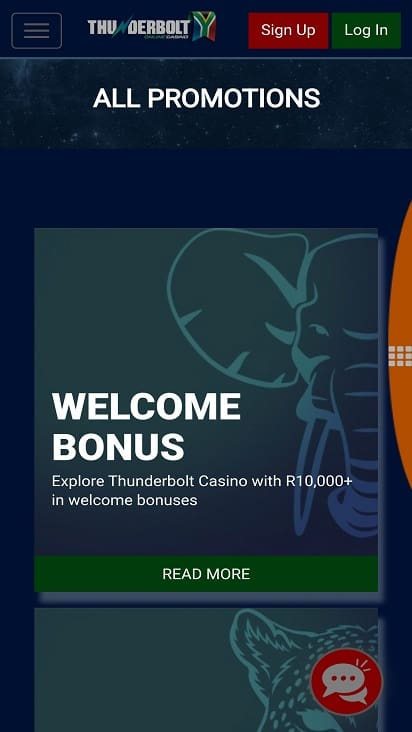 Thunderbolt casino promotions page