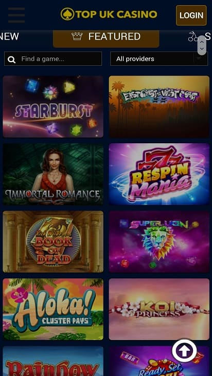 Top uk casino games page