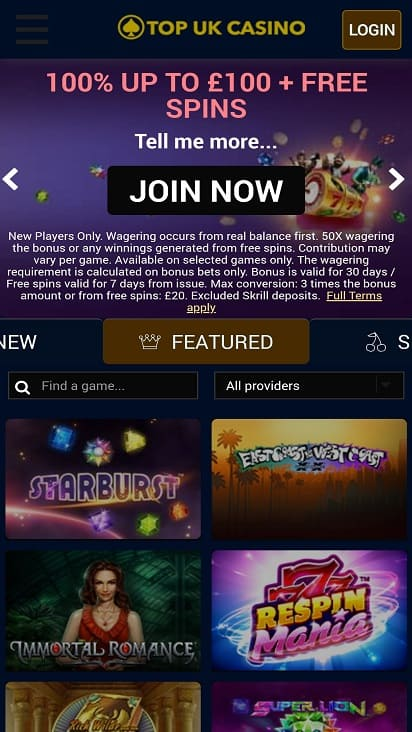 Top uk casino home page
