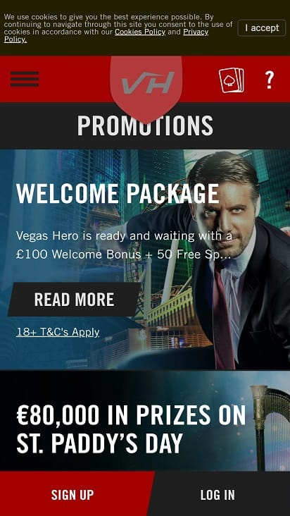 Vegas hero promotions page