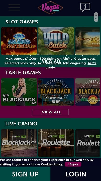 Vegas wins games page
