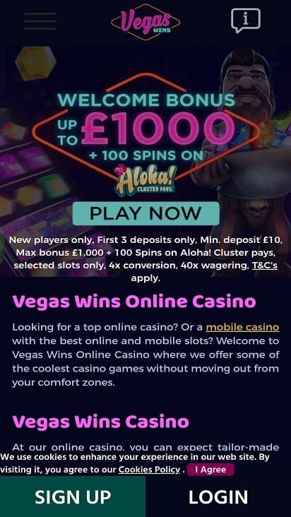 Vegas wins home page