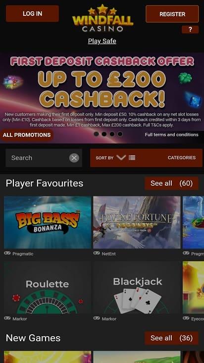 Windfall casino home page