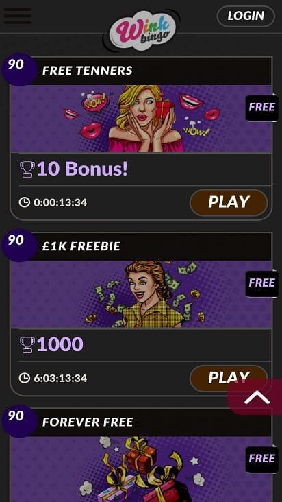 Wink bingo games page