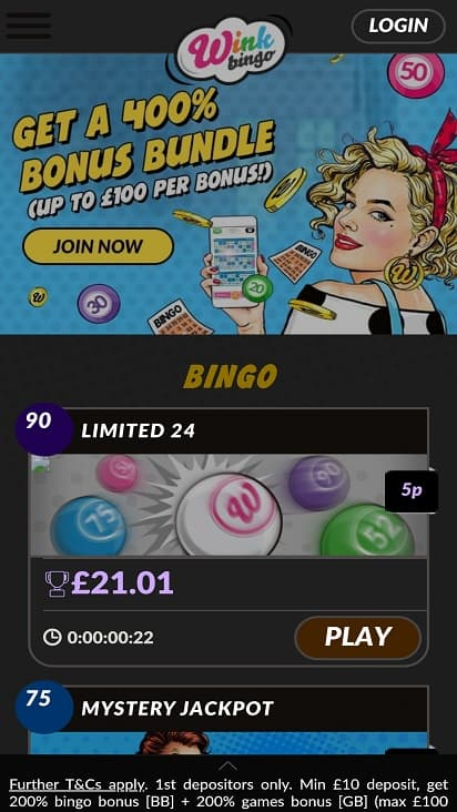 Wink bingo home page