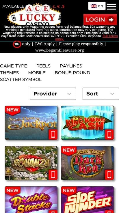 ace lucky casino games page
