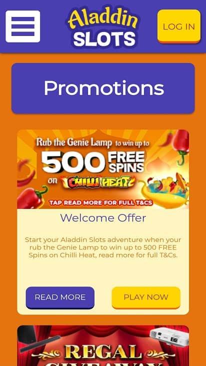 aladdin slots promotions page