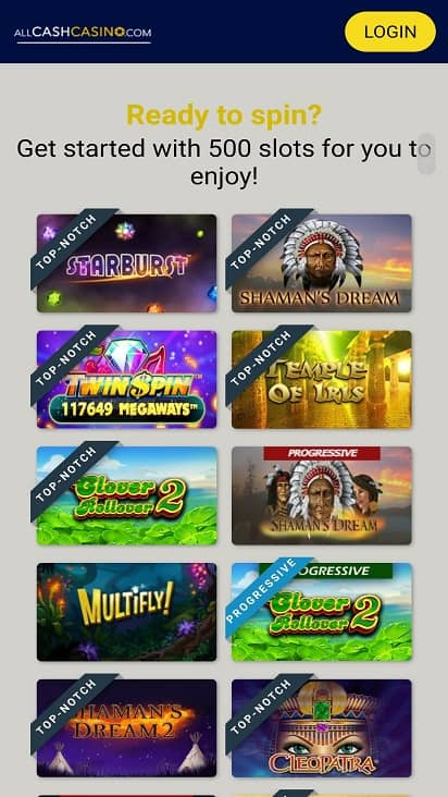 all cash casino games page