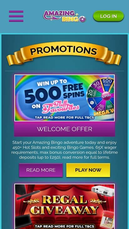 amazing bingo promotions page