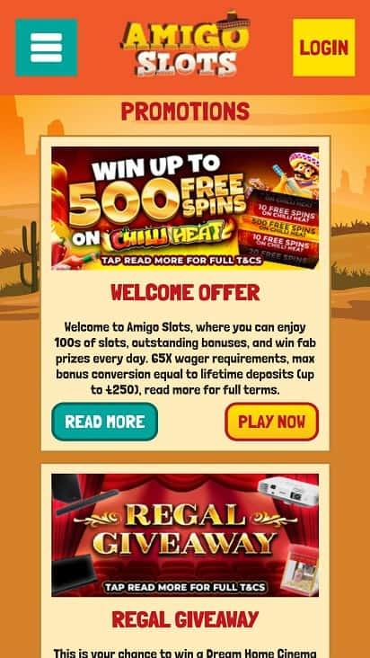 amigo slots promotions page