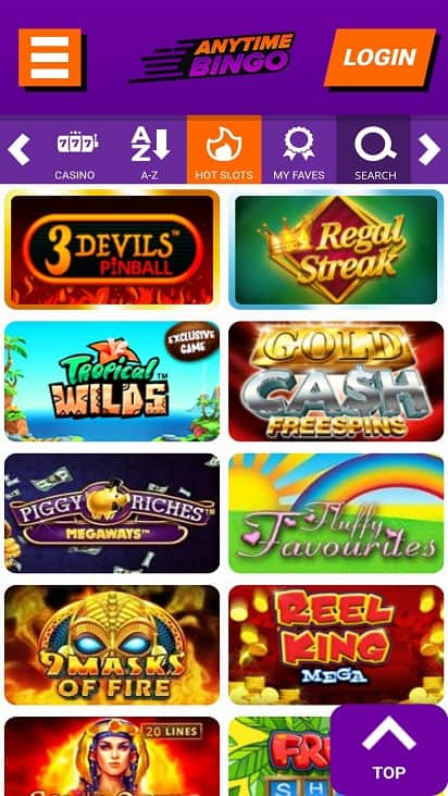 anytime bingo games page