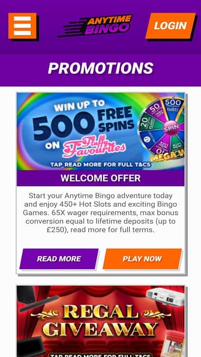 anytime bingo promotions page