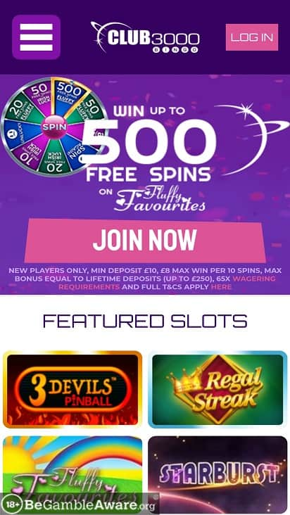 club 3000 bingo games page