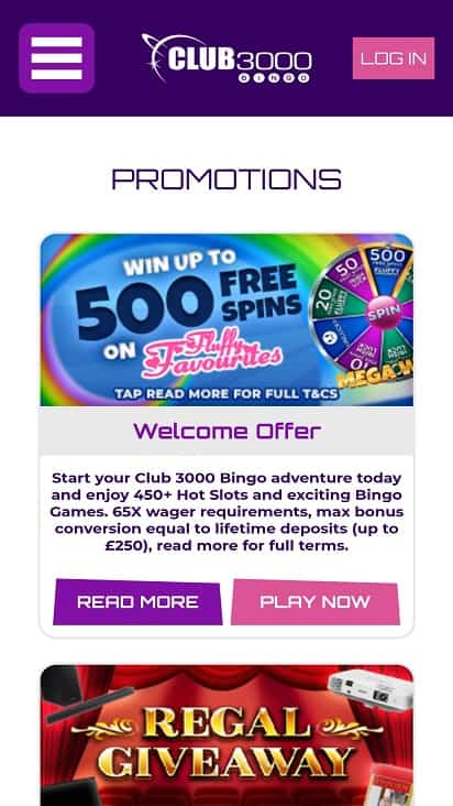 club 3000 bingo promotions page