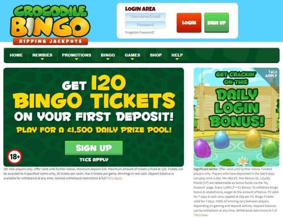 crocodile bingo login