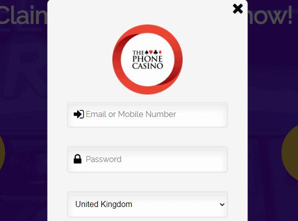 the phone casino login