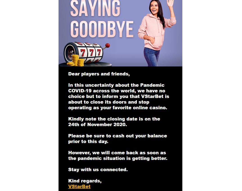 vstarbet goodbye page