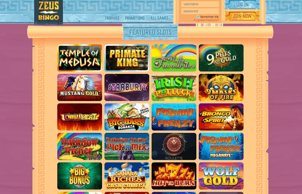 zeus bingo games