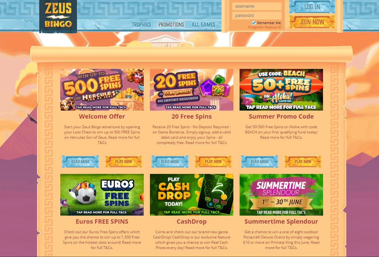 Zeus Bingo promotion